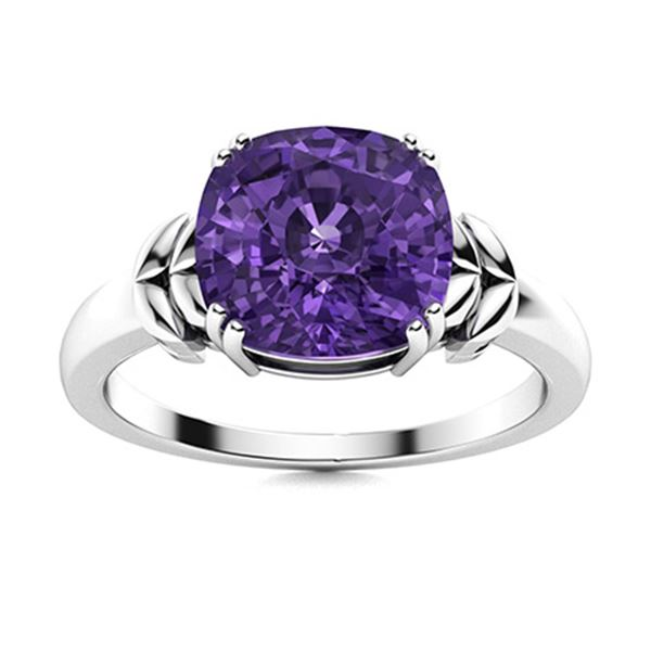 Natural 3.87 CTW Amethyst Solitaire Ring 18K White Gold