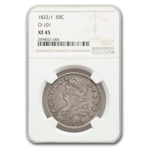 1822/1 Capped Bust Half Dollar XF-45 NGC (O-101)