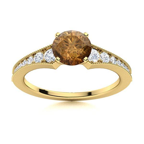 Natural 1.76 CTW Brown & White Diamond Engagement Ring 18K Yellow Gold
