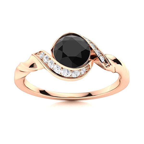 Natural 0.94 CTW Black & White Diamond Engagement Ring 14K Rose Gold