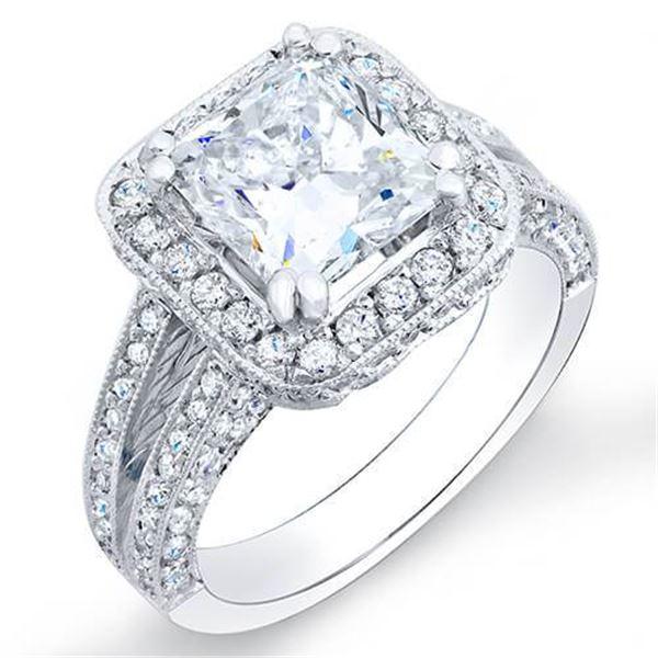 Natural 2.32 CTW Halo Princess Cut Split Shank Pave Diamond Engagement Ring 18KT White Gold