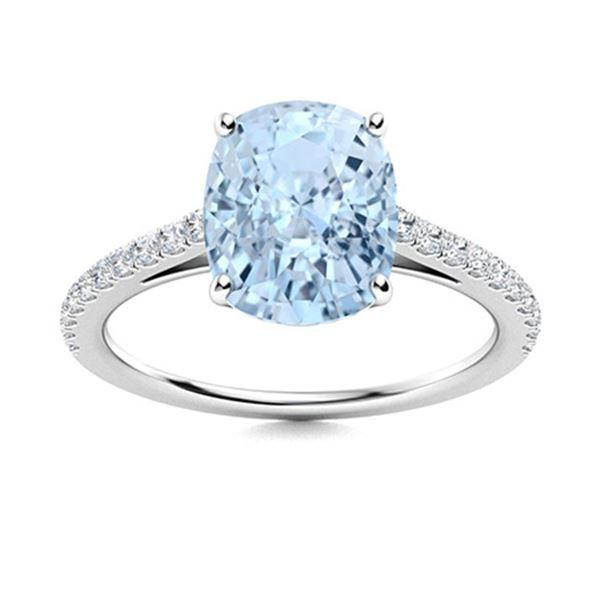 Natural 5.27 CTW Aquamarine & Diamond  Engagement Ring 18K White Gold