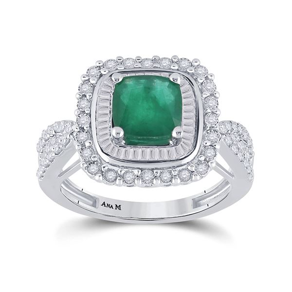 14kt White Gold Womens Cushion Emerald Diamond Halo Solitaire Ring 2-1/4 Cttw
