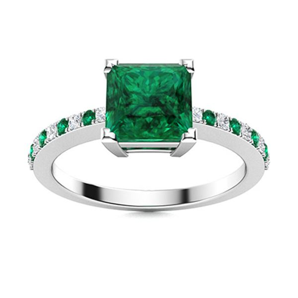 Natural 1.17 CTW Emerald & Diamond  Engagement Ring 14K White Gold