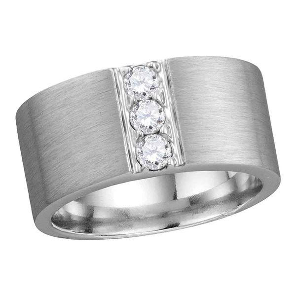 14kt White Gold Mens Round Diamond 3-stone Matte Wedding Band 1/2 Cttw