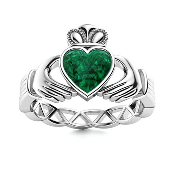 Natural 0.50 CTW Emerald Solitaire Ring 14K White Gold
