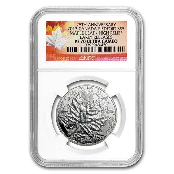 2013 1 oz Silver Maple Leaf PF-70 NGC (ER, Piedford, 25th Anniv)