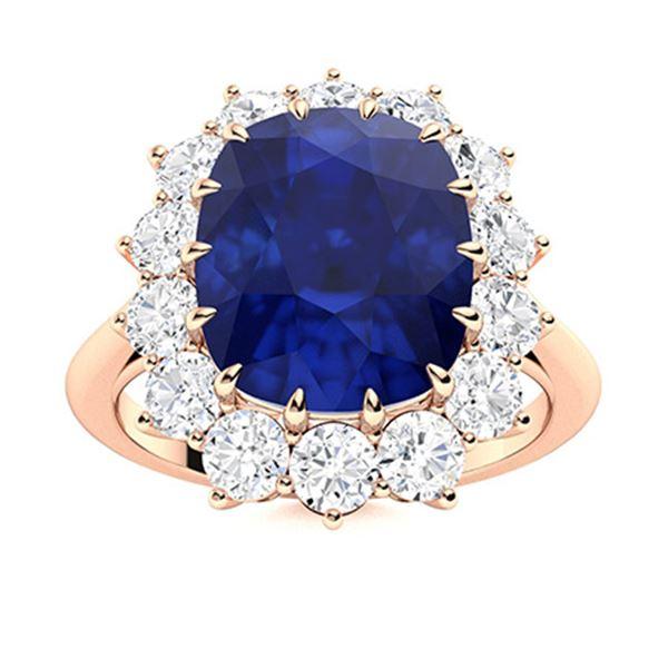 Natural 4.88 CTW Sapphire & Diamond Engagement Ring 18K Rose Gold