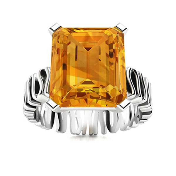 Natural 3.72 CTW Citrine Solitaire Ring 18K White Gold