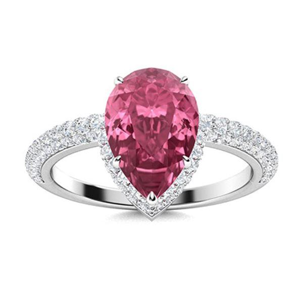 Natural 2.13 CTW Tourmaline & Diamond Engagement Ring 14K White Gold