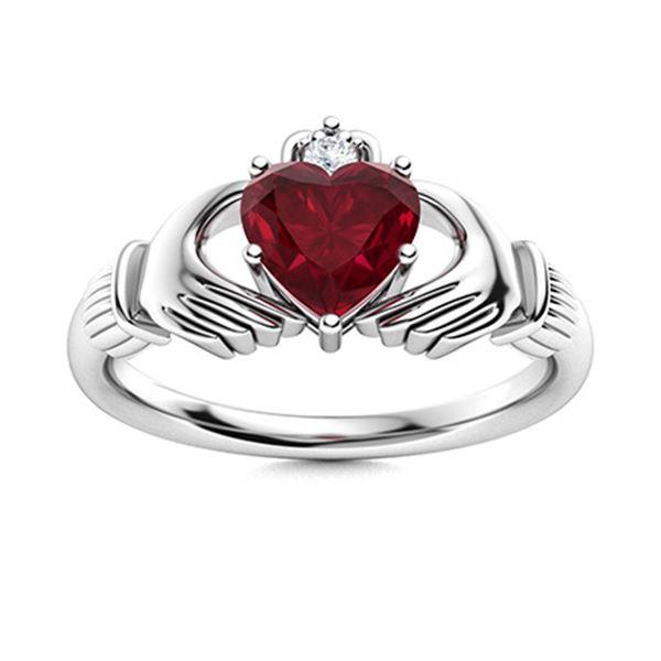 Natural 0.66 CTW Ruby & Diamond Engagement Ring 14K White Gold