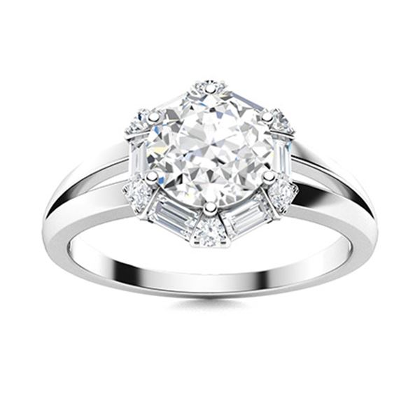 Natural 1.32 CTW Diamond Solitaire Ring 18K White Gold