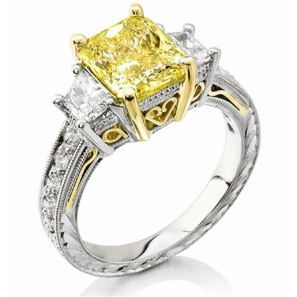 Natural 2.42 CTW Canary Yellow Radiant Cut & Trapezoids Diamond Ring 18KT Two-tone