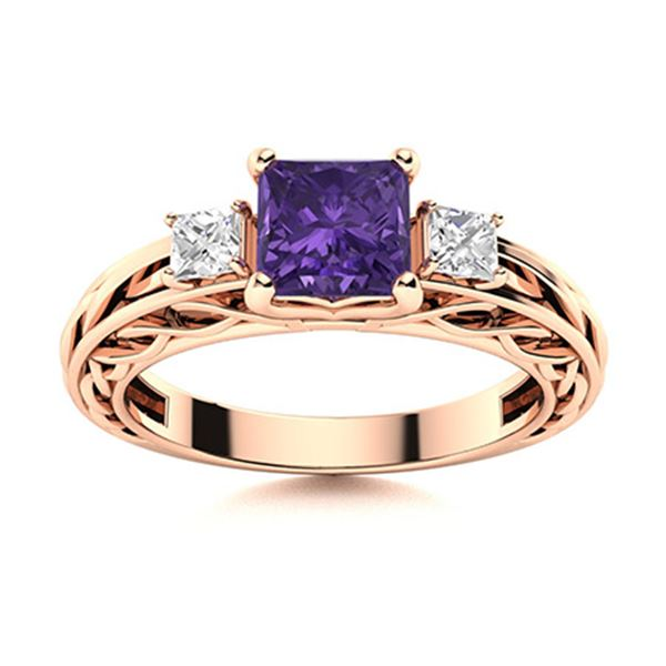 Natural 0.91 CTW Amethyst & Diamond Engagement Ring 14K Rose Gold