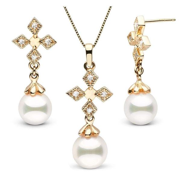 White Akoya Pearl and Diamond Cross Pendant and Earring Set