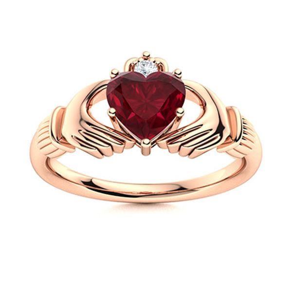 Natural 1.53 CTW Ruby & Diamond Engagement Ring 14K Rose Gold
