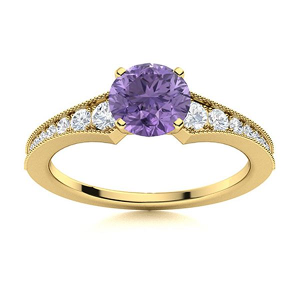 Natural 0.95 CTW Iolite & Diamond Engagement Ring 14K Yellow Gold