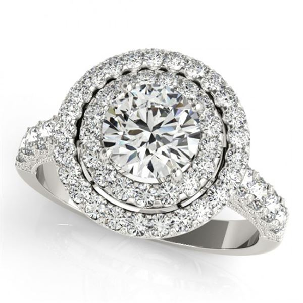 Natural 3 ctw Diamond Solitaire Halo Ring 14k White Gold