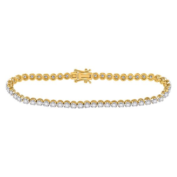 14kt Yellow Gold Womens Round Diamond Studded Tennis Bracelet 1 Cttw