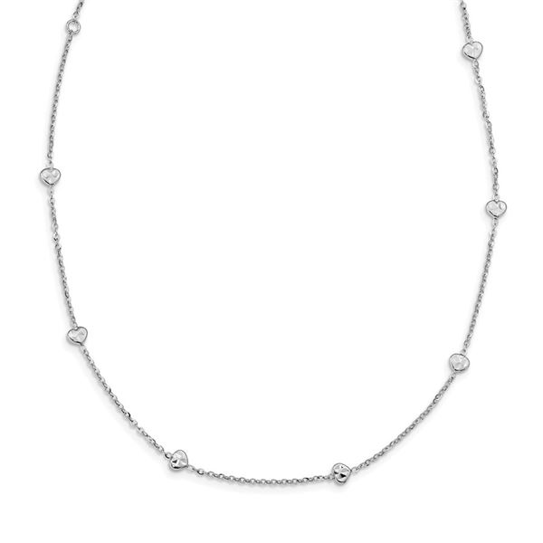 14K White Polished & D/C w/2 in ext Hearts Necklace - 17.5 in.