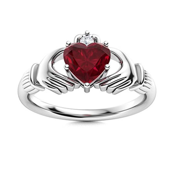 Natural 0.62 CTW Ruby & Diamond Engagement Ring 18K White Gold