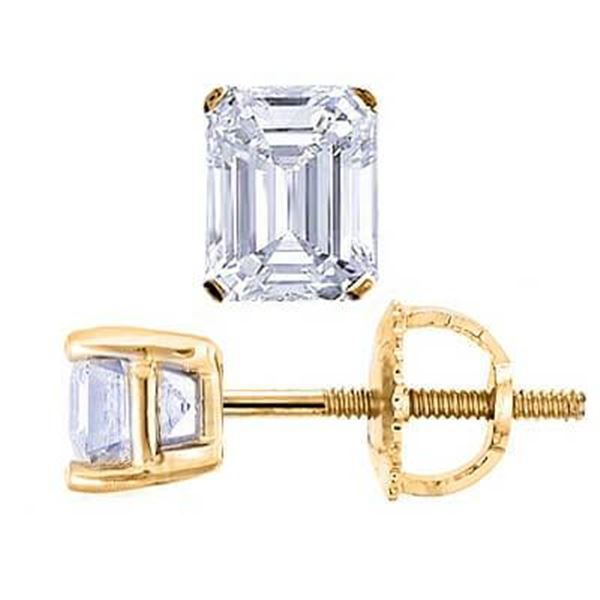 Natural 1.52 CTW Emerald Cut Diamond Stud Earrings 14KT Yellow Gold