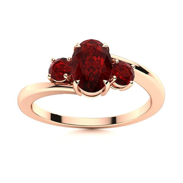Natural 1.20 CTW Garnet Solitaire Ring 18K Rose Gold