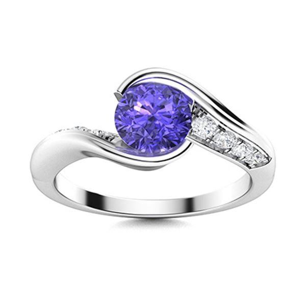 Natural 0.62 CTW Tanzanite & Diamond Engagement Ring 18K White Gold
