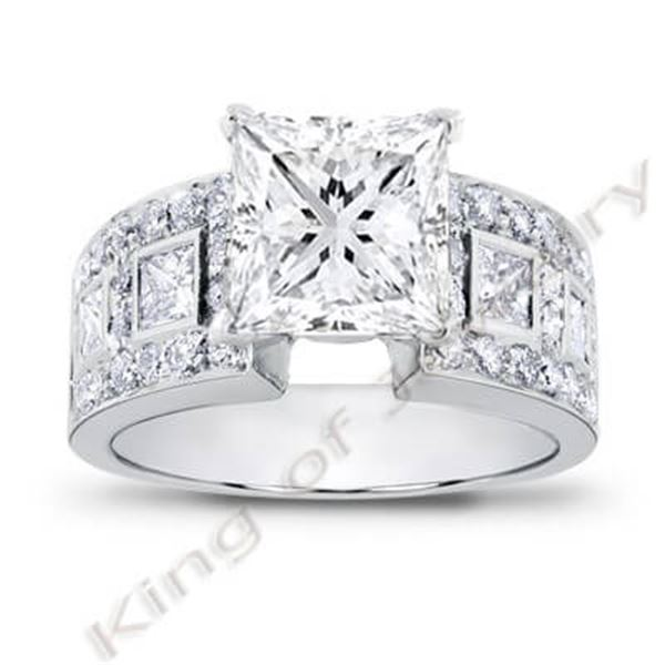 Natural 3.46 CTW Princess Cut Diamond Engagement Ring 14KT White Gold
