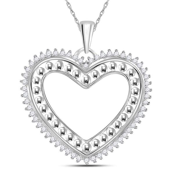 14kt White Gold Womens Round Diamond Beaded Heart Pendant 1/4 Cttw