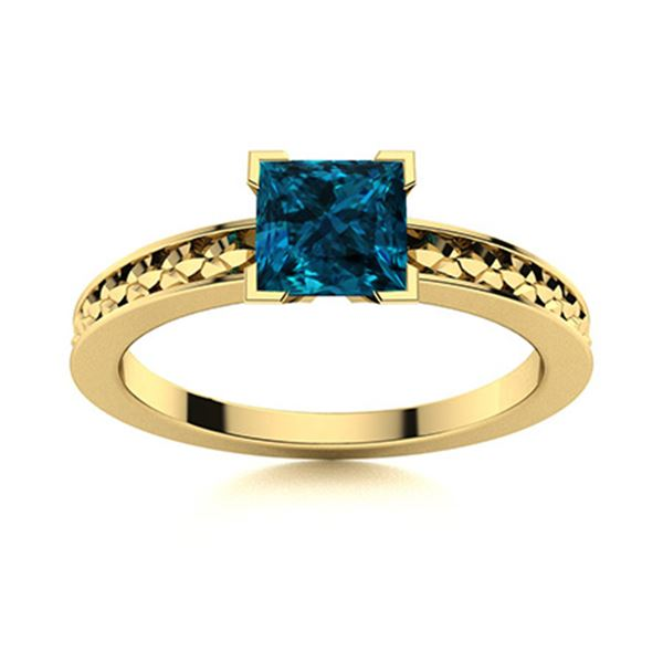 Natural 0.80 CTW Topaz Solitaire Ring 14K Yellow Gold