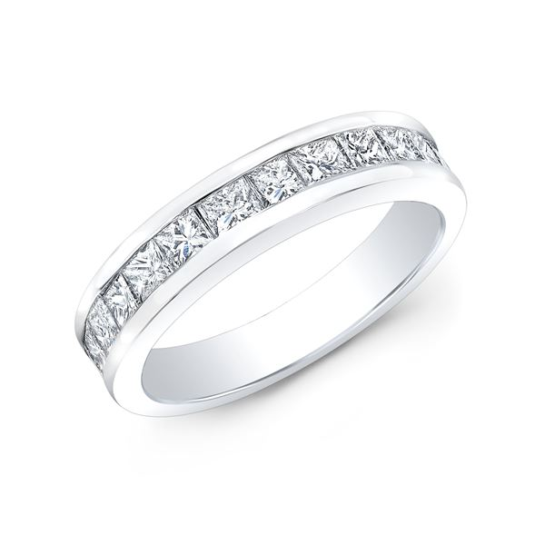Natural 1.02 CTW Princess Cut Diamond Wedding Band Anniversary Ring 14KT White Gold