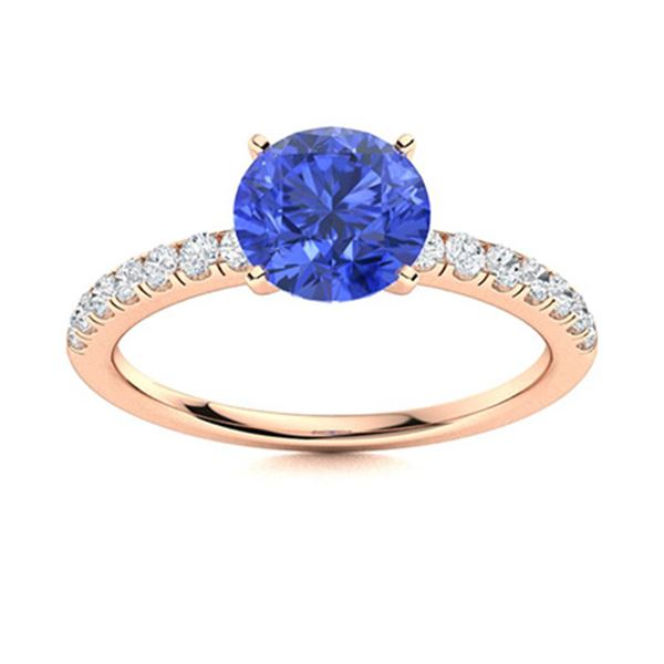 Natural 1.86 CTW Ceylon Sapphire & Diamond Engagement Ring 14K Rose Gold