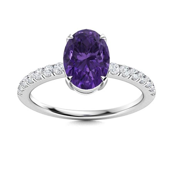 Natural 1.80 CTW Amethyst & Diamond Engagement Ring 14K White Gold