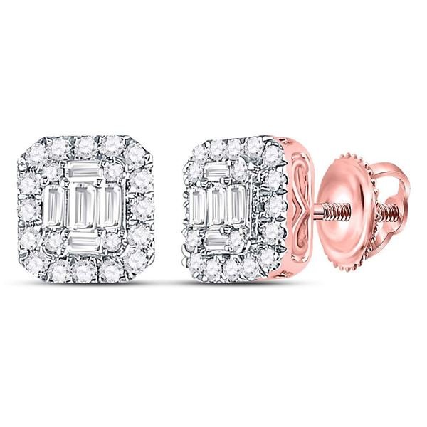 14kt Rose Gold Womens Baguette Diamond Square Cluster Earrings 1/2 Cttw
