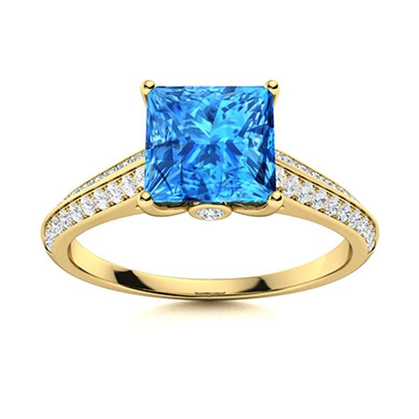 Natural 1.16 CTW Topaz & Diamond  Engagement Ring 14K Yellow Gold