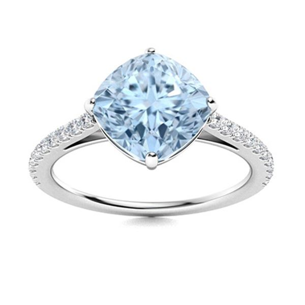 Natural 2.77 CTW Aquamarine & Diamond  Engagement Ring 18K White Gold