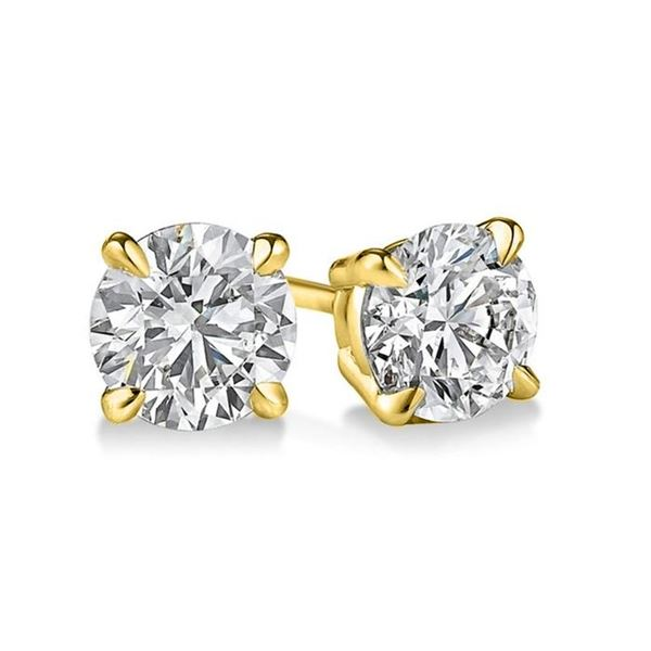Natural 2.22 CTW Round Brilliant Cut Diamond Stud Earrings 14KT Yellow Gold