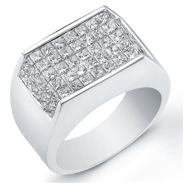 Natural 3.77 CTW Men's Invisible Set Princess Cut Diamond Ring 18KT White Gold