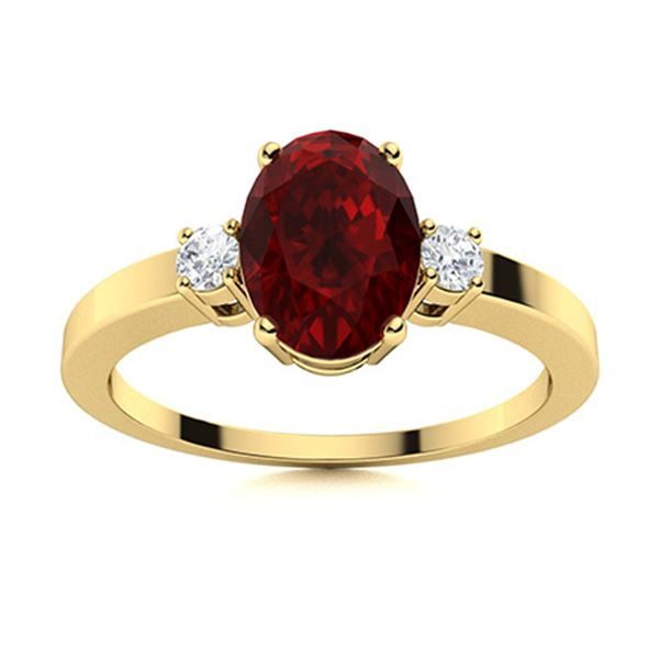Natural 2.02 CTW Garnet & Diamond Engagement Ring 18K Yellow Gold