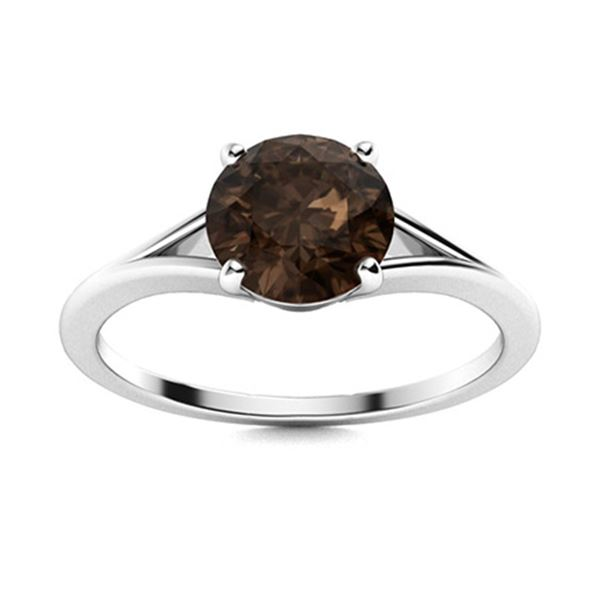 Natural 1.05 CTW Smoky Quartz Solitaire Ring 14K White Gold