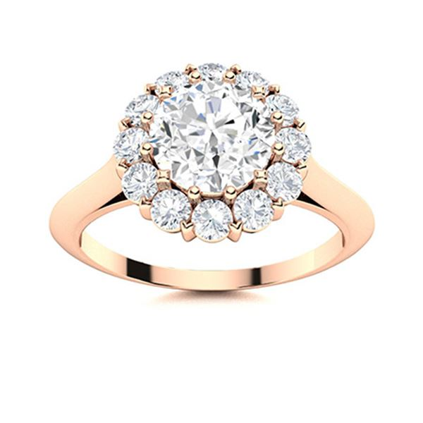 Natural 1.43 CTW Diamond Solitaire Ring 14K Rose Gold