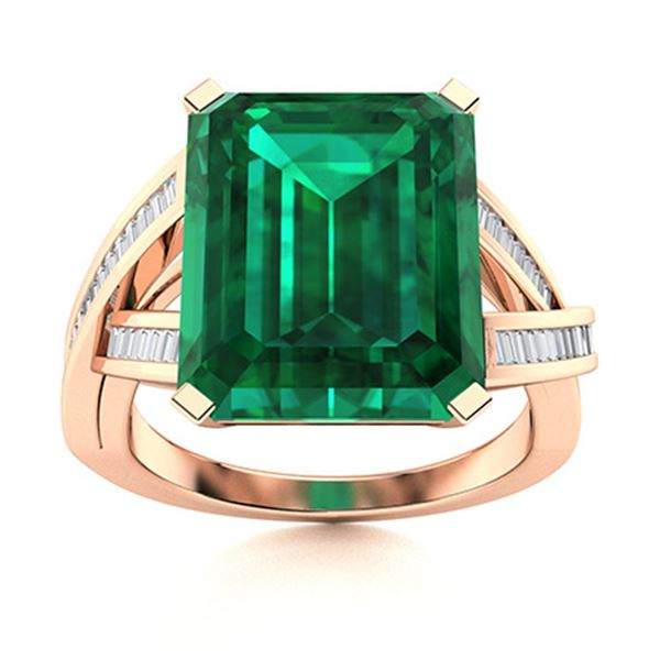 Natural 2.04 CTW Emerald & Diamond Engagement Ring 14K Rose Gold