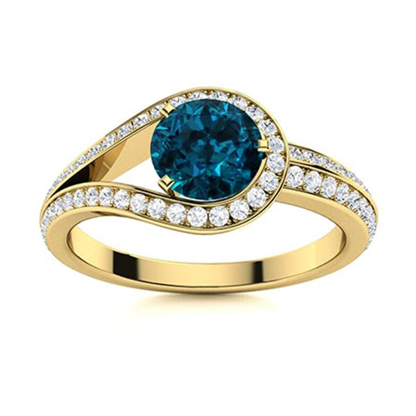 Natural 1.01 CTW Topaz & Diamond Engagement Ring 14K Yellow Gold