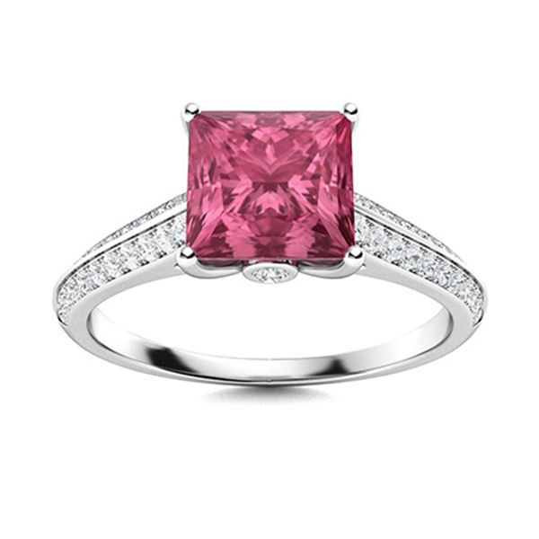 Natural 1.04 CTW Tourmaline & Diamond Engagement Ring 18K White Gold