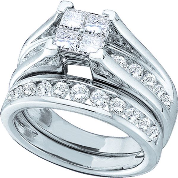 14kt White Gold Princess Diamond Bridal Wedding Ring Band Set 4 Cttw