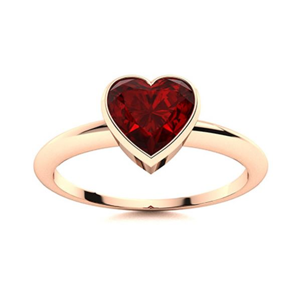 Natural 0.55 CTW Garnet Solitaire Ring 18K Rose Gold