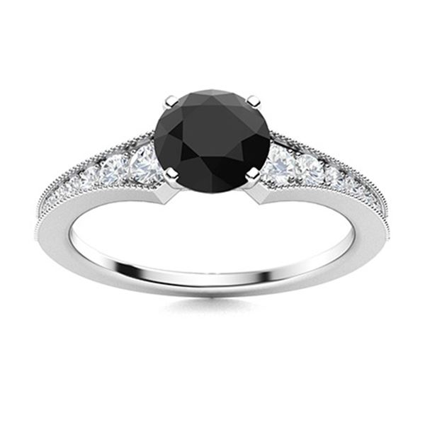Natural 1.46 CTW Onyx & Diamond Engagement Ring 18K White Gold