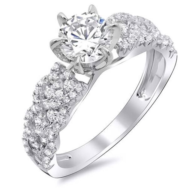 Natural 2.93 CTW Round Brilliant Cut Diamond Trellis Shank Engagement Ring 18KT White Gold