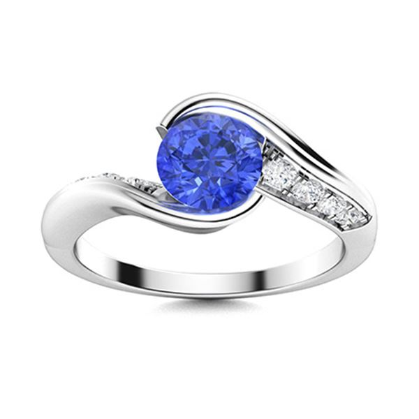 Natural 1.52 CTW Ceylon Sapphire & Diamond Engagement Ring 18K White Gold